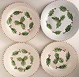 MaJe ceramista Set 3 platos esmaltado porcelana pintada a mano acebo navidad.