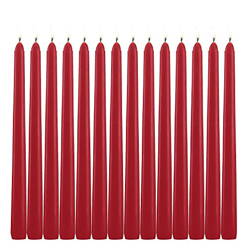 YCYH Unscented 10' Taper Candles - Red, Set of 14