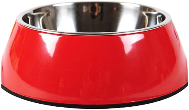 Dog Bowl Dog Bowl Stainless Steel pet cat Bowl Double Bowl Large Dog Rice Bowl Dog Food Bowl,Red,XL
