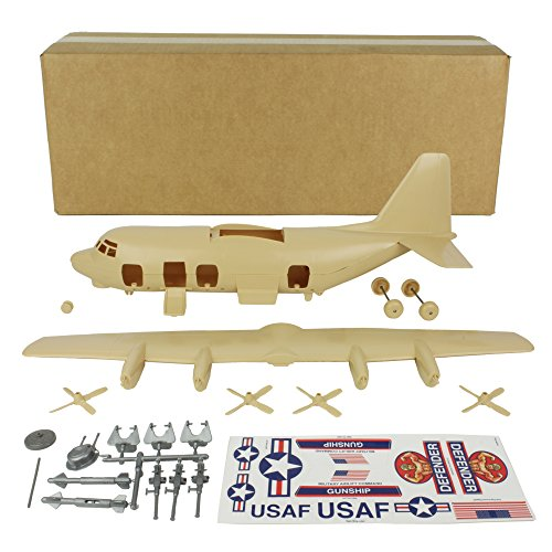 TimMee Plastic Army Men C130 Playset - Tan 27pc Giant Military Airplane USA Made