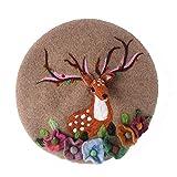 YLJYJ Cap Elk Berets Animal Hat Winter Lady Fashion Hecho a Mano Cálido Versátil Moda Encantadora Cap Tocado (Color: 1, Tamaño: 56-58CM (Espejo)