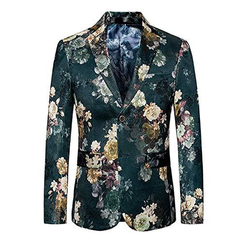 Herenpak Jassen met Bloemenblazer Knop Moderne Casual Print Blazer Tuxedo Slim Fit Herenpak Lapel Jas