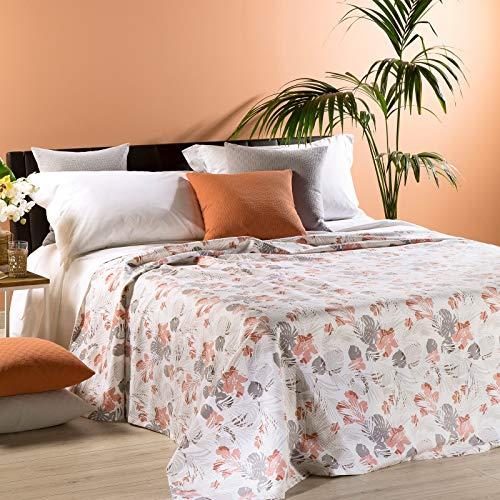 Caleffi - Colcha de verano no acolchada para cama de matrimonio, 260 x 260 cm, tejido piqué de algodón