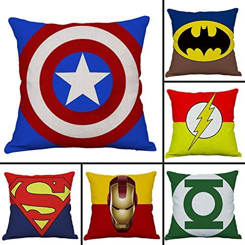 ZHAOCC Fodera Cuscino 6 Set di Lino Federa Avengers Iron Man Superman Batman Fodera per Cuscino Decorativa 45X45Cm
