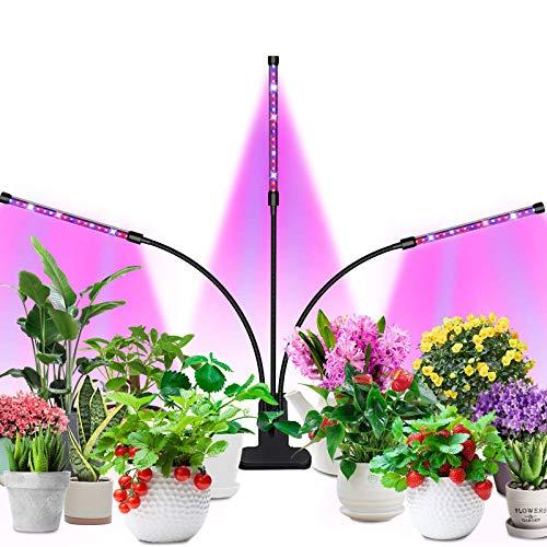 Pflanzen Lampe Led, Lovebay Three Head 54 Leds VOLLSPEKTRUM Pflanzenlampe, 3 Timer 4/8/12H, Dimmbar 8 Lichtstärken, Automatische Zeitschaltuhr Pflanzenlicht Led UV Lampe Pflanzen Wachstumslampe
