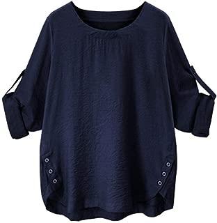 Women O Collar Loose Girl 3/4 Long Sleeve Autunm Plus Size Shirt