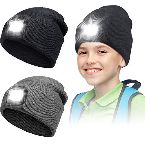 2 Stücke LED Mütze Hut für Kinder USB Wiederaufladbare LED Strickmützen Winter Warm Strick Taschenlampe Hüte Kleidung Zubehör für Wandern, Radfahren, Camping in der Nacht, Angeln