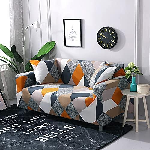 WXQY Elastischer Sofabezug für Wohnzimmer Rutschfester elastischer All-Inclusive-Sofabezug Blume universeller Elasthan-Couchbezug A15 4 Sitzer