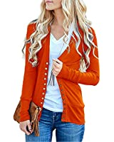 Traleubie Women's Long Sleeve V-Neck Maternity Button Down Shirts Cardigan Sweater Copper L