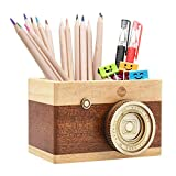Zakka Camera Wooden Pencil Holder Desktop Pencil Holder Vintage Camera Decor Stationary Makeup Organizer Holder for Office Home, Great Gift For Photographers and Students, Valentine's Day Gift