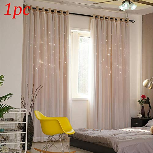 Presentimer Double-Decker Star Curtains Blackout Curtains with Window Screens Dreamy Starry Sky Window Bedroom Living Room Decoration