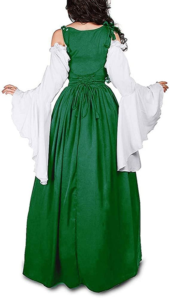 Forthery-Women Halloween Dress Renaissance Medieval Irish Costume Over Dress and Pure White