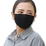 Sqiuxia Fashion Baumwoll-Mundschutz, wiederverwendbar, waschbar, für den Schutz im Freien, Schwarz