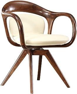 N/Z Daily Equipment - Chaise pivotante en cuir et bois pour adulte - Convient pour café, hôtel, salon - 63 x 61 x 80 cm - ...