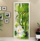 Mural de Pegatinas de Puerta, Pegatina de Estilo Chino de bambú Verde, Papel Tapiz fotográfico, Sala de Estar, Estudio, Cocina, Pegatina de Puerta 3D, decoración Impermeable autoadhesiva