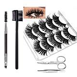 5D False Eyelashes, 5 Pairs Professional Eyes Lashes Natural Soft and Comfortable With Eyelash Brush Comb Tweezers Eyebrow Scissors Grooming Kit