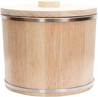 Pots et bocaux de conservation Baril De Riz Cylindre De Riz En Bois Étanche À L'humidité Boîte De Riz Ronde Récipient À Gr...