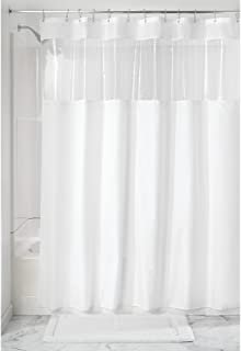 "InterDesign Fabric Shower Curtain with Clear Window for Bathroom 72"" x 72"" 26621"