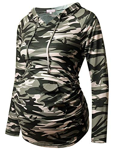 Bhome Maternity Hoodie Long Sleeves Shirt Casual Top Basic Tee Layering Sweatshirt Camo M