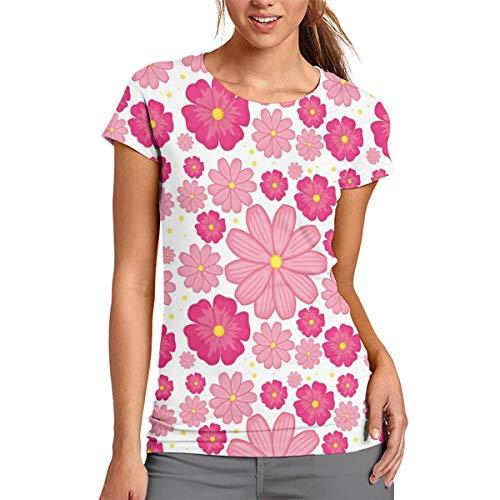 Damen-T-Shirt mit rosafarbenen Blumen, kurzärmelig, Rundhalsausschnitt, Bluse, bequem, Polyester, weiß, xxl