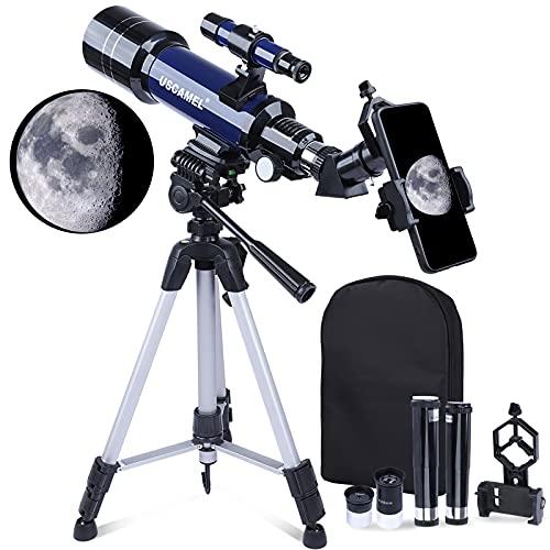 Telescopio Astronomico, 70mm Telescopio Rifrazione, per adulti, bambini,principianti,telescopio da viaggio portatile con borsa per il trasporto, treppiede regolabile e adattatore per telefono