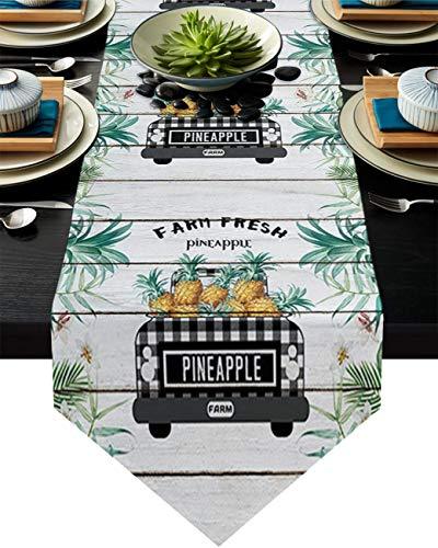 COMMER Camino de mesa, farm Fresh Piña Hojas Verdes Vestidor Bufandas Decoración de Mesa para Boda/Ceremonia o Banquete (33 x 228 cm)