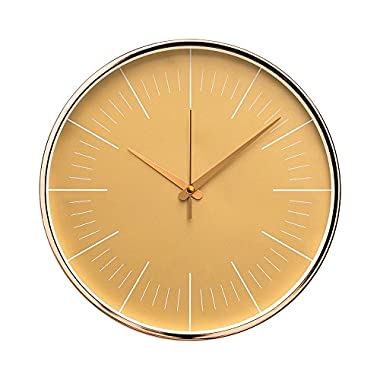 """Arospa Luxury Modern 12"""" Silent Non-Ticking Wall Clock with Rose Gold Frame (Golden Sand)"""