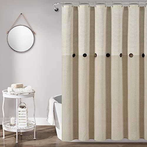 Lush Decor Duschvorhang, Leinen, gewebt, Baumwolle, gestreift, 183 x 183 cm, Beige