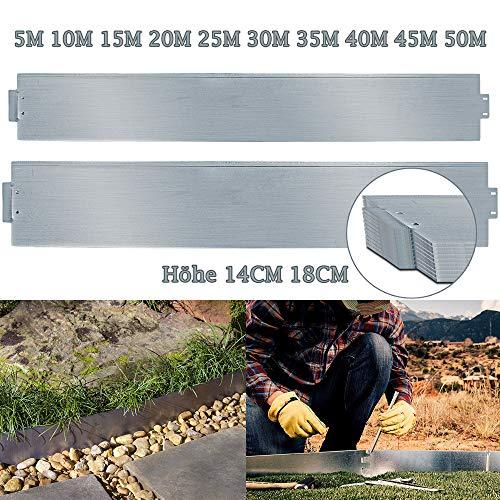 TolleTour Rasenkante Metall Beetumrandung Verzinkt Beeteinfassung Mähkante Palisade als Wurzelsperre, Profilkante Silber, (Länge 10m - Höhe 14cm)