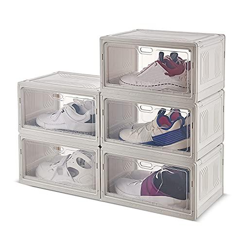 YUANB 8 cajas de zapatos grandes, ampliadas y gruesas, de plástico, a prueba de polvo y transparentes
