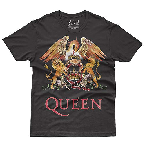 Queen Classic Crest - T-Shirt Official Licensed Uomo, Large, Nero