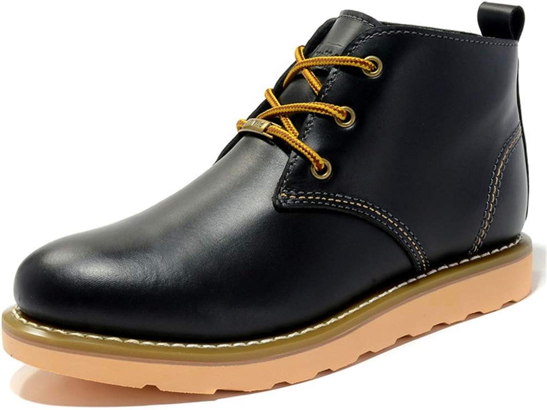 ZHRUI Classic Genuine läder Boos Boos Boos for män Lace Uppe utomhus Casual Soft Sole stövlar (Färg  svart, Storlek  UK 5.5)  noll vinst