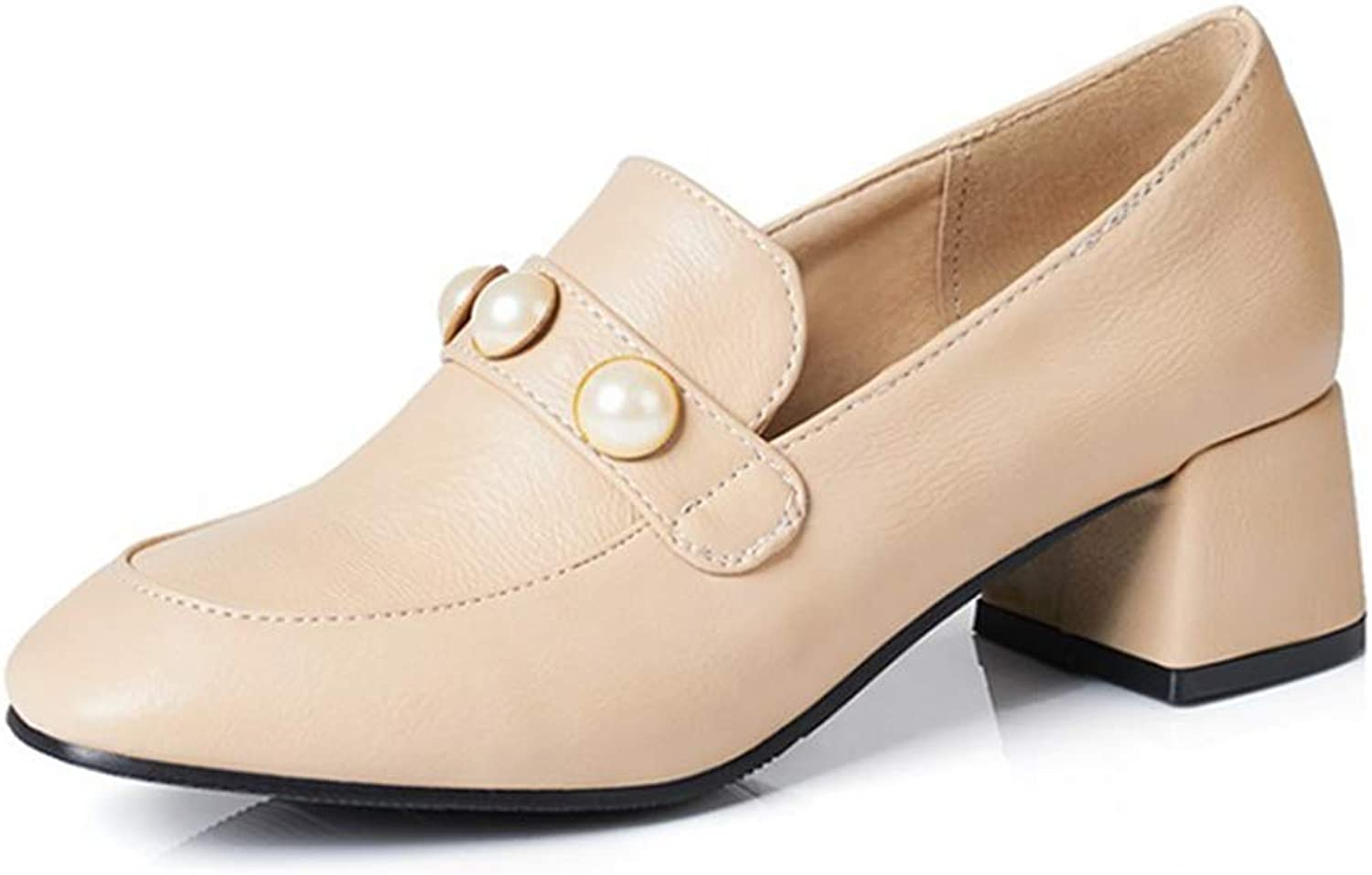 BMTH Women's Square Toe Penny Loafer shoes Pearl Leather Slip On Mid Heel Retro Dress Oxford Pumps