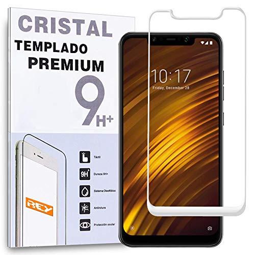 REY Protector de Pantalla Curvo para XIAOMI POCOPHONE F1, Blanco, Cristal Vidrio Templado Premium, 3D / 4D / 5D