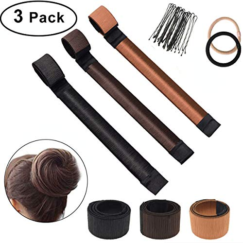3 Pack Donut Hair Bun Maker Dutt Maker, Bofekt dutt band Fashion Hair Styling Tool Damen French Twist Haar Brötchen Magic DIY Tool