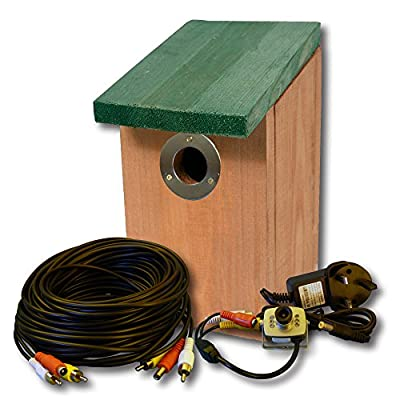 Bird Nest Box Fitted with Colour Camera with Night Vision, Sound and 20m of Cable from Nature Fan