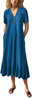 Mogogo Womens V-Neck Oversized Baggy Style Backless Linen Maxi Long Dress