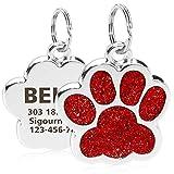 TagME Personalisierter Hund & Katze Marke/Hundemarke aus Edelstahl mit eingraviertem Namen und Telefonnummer/Prickelnde Katzenmarke in Pfotenform/Klein/Rot