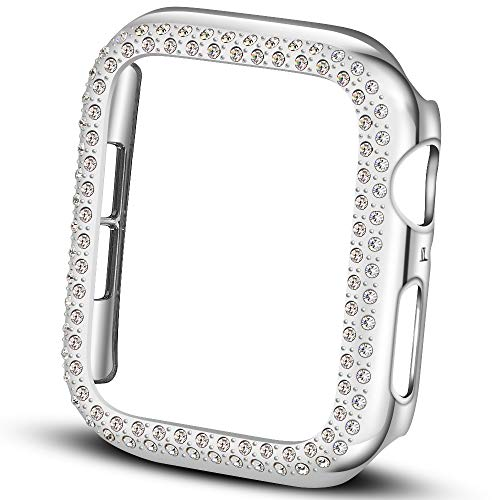 Falandi Compatible with Apple Watch Case 44mm, Face Cover Bling Crystal Diamonds Shiny Rhinestone Bumper, PC Plated Hard Protective Frame for iWatch Series 4 3 2 1 Women Girls, (Silver 44mm)