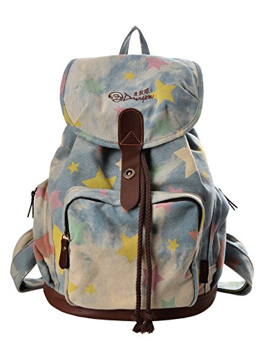 Douguyan Mode Retro Tasche Freizeitrucksack Reiserucksack Schulrucksack Daypack Girls Backpack Fashion Rucksack Damen E00117 Denim Kleine Stern