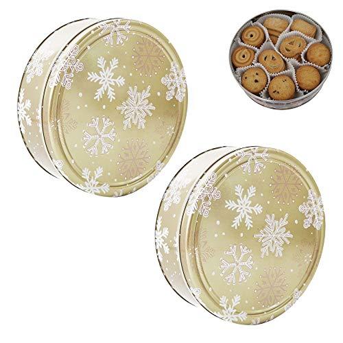 Becky´s 2X Danish Butter Cookies/Dänische Butter Kekse - Gebäck in Goldener Dose mit Schneeflocken - 2X 454 g