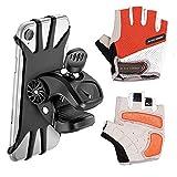 Support Téléphone Vélo gants, Support Moto de Guidon Universel Rotatif à 360 Degrés Anti-Vibrations en Silicone Réglable 4.5'-6.5' (Noir) + Gants de cyclisme professionnels respirant demi doigt(XL)