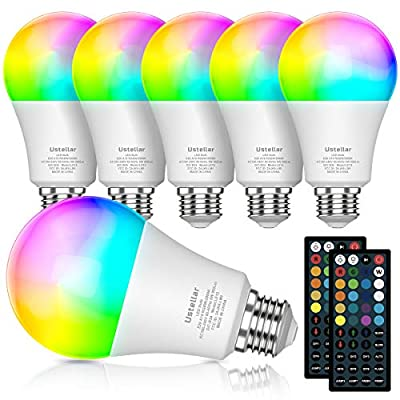 RGB LED Light Bulb with Remote, Color Changing Light Bulb, 900LM Dimmable 9W E26 Screw Base RGBW, Mood Light Flood Light Bulb - 20 Color 6 Modes - Remote Control Included (4 Pack)