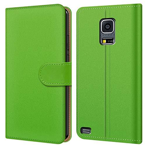 Conie BW34025 Basic Wallet Kompatibel mit Samsung Galaxy S5 / S5 Neo, Booklet PU Leder Hülle Tasche mit Kartenfächer und Aufstellfunktion für Galaxy S5 Galaxy S5 Neo Case Grün