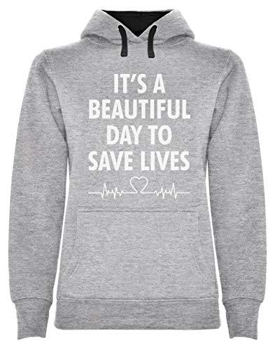 Green Turtle Sudadera con Capucha para Mujer - It's a Beautiful Day To Save Lives - Regalo para el Día de la Enfermera Large Gris