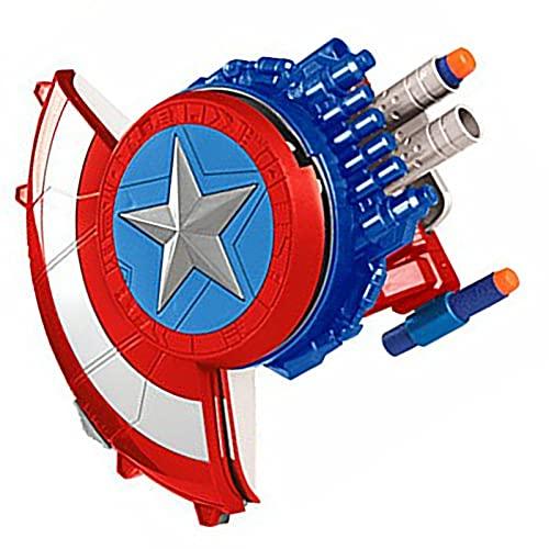 Tables Marvel'S Avengers, Escudo del Capitán América el Juguete de Bomba Suave Lanzador con 10 Bombas Suaves Adecuadas, para Lanzadores de Cosplay para Niños