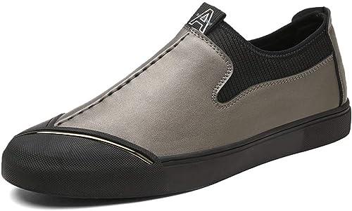CHENDX Chaussures, La Mode des Hommes Bas Bas Oxford Décontracté personnalité Couture Couture Slip on Chaussures Formelles (Couleur   Kaki, Taille   39 EU)