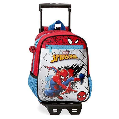Marvel Spiderman Red Zainetto Asilo con Carrello Rosso 23x28x10 CMS Poliestere 6.44L