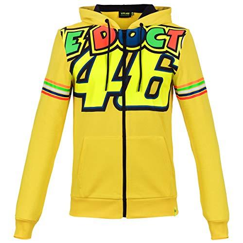 Valentino Rossi Vrmfl305301002 trui met capuchon met ritssluiting, Vr46 heren, geel, M 106 cm/42 in Chest