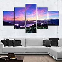 ウォールアートキャンバスペインティング5セットウォールアート自然景観HDプリントマウンテンポスター家の装飾美しい40x6040x8040x100cmフレームなし